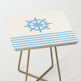 AFE Baby Blue Helm Wheel, Nautical Art Side Table