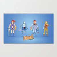 thundercats Canvas Prints featuring Thundercats - Pixel Nostalgia  by Boo! Studio