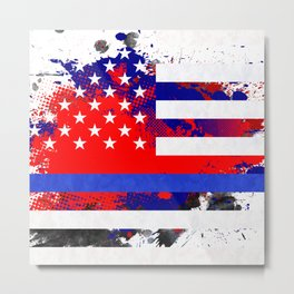 Thin Blue Line Police Lives Matter Metal Print