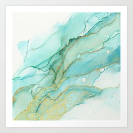 Magic Bloom Flowing Teal Blue Gold Art Print