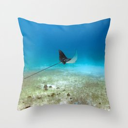 Watercolor Ray, Spotted Eagle Ray 27, St John, USVI Throw Pillow