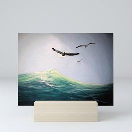 Seaguls Soaring with the Ocean Waves Mini Art Print