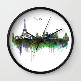 Paris Skyline watercolor Wall Clock