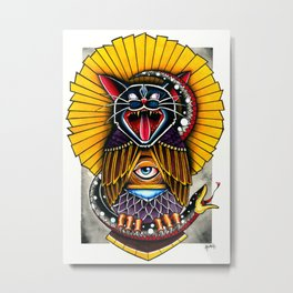 Cat Owl Metal Print