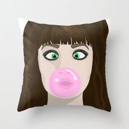 Blow gum Throw Pillow