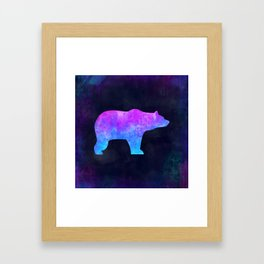 BEAR IN SPACE // Animal Graphic Art // Watercolor Canvas Painting // Modern Minimal Cute Framed Art Print