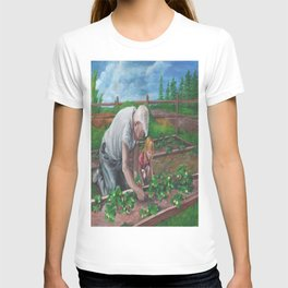 Grandfather Strawberry Gardening with Granddaughter T-shirt