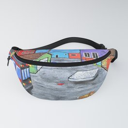 "Los Angeles Alley (Original Acrylic Painting) 8"" x 10"" by Mike Kraus - LA art street graffiti socal Fanny Pack"