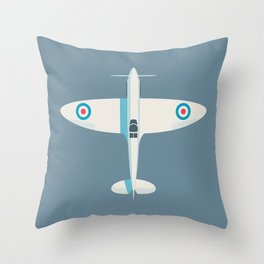 Supermarine Spitfire WWII fighter aircraft - Slate Throw Pillow
