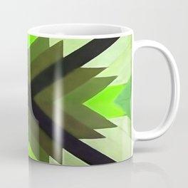 Navaho Vibes Geometric Pattern - Black Olive Lime Coffee Mug