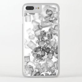 Macro sugar crystals in black and white Clear iPhone Case