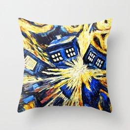 Tardis By Van Gogh - Doctor Who Throw Pillow