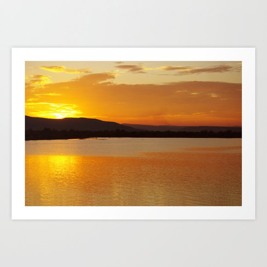 Sunset In The Village Art Print