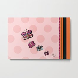 Butterfly And Polka Dot Series Metal Print