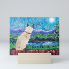 Siamese Cat in the Moonlight Painting Mini Art Print