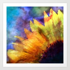 Sunflower on colorful watercolor texture Art Print