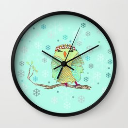 owl in the snow Wall Clock