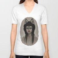 husky V-neck T-shirts featuring Husky by Fernanda Suarez