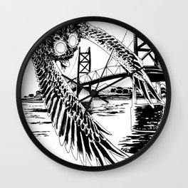Mothman loves bridges Wall Clock