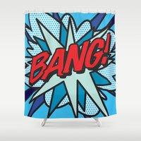 comic book Shower Curtains featuring Comic Book BANG! by Thisisnotme