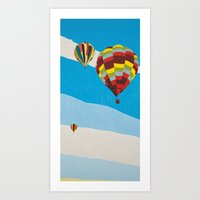 hot air balloons Art Prints featuring Three Hot Air Balloons by Shelley Chandelier