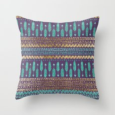 Gold Teal and Purple Arrows Tribal Aztec Pattern Throw Pillow