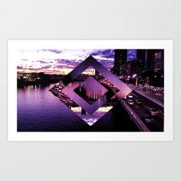 Purple Geometric Brisbane City River Print Art Print