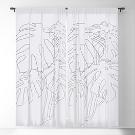 Monstera Illustration Blackout Curtain