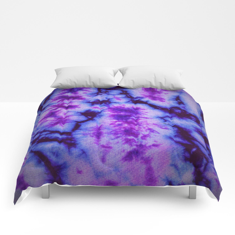 Tie Dye In Blue And Purple Comforters