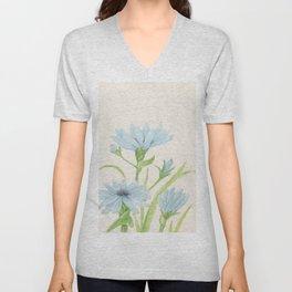 Watercolor Garden Flower Blue Cornflower Wildflower Unisex V-Neck