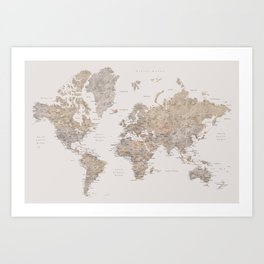 World map with cities in brown and light gray Art Print