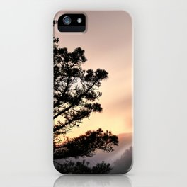 Foggy Mountains at sunset. Garajonay National Park iPhone Case
