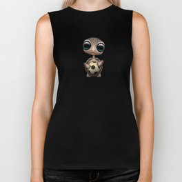 Cute Baby Turtle With Football Soccer Ball Biker Tank
