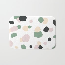 Modern pink green ivory watercolor brushstrokes pattern Bath Mat