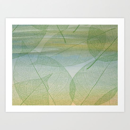 Delicate Painterly Leaves Art Print
