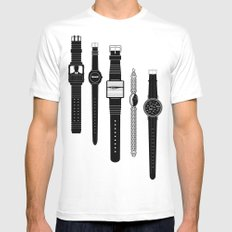 Watching V2. White MEDIUM Mens Fitted Tee