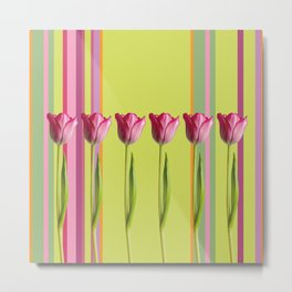 Striped summer meadow with tulips Metal Print