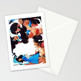 Daughter and Mother Children's Book Illustration Stationery Cards