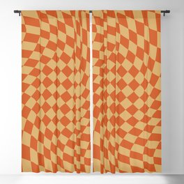 Orange Sunset Checker Blackout Curtain