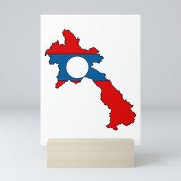 Laos Map with Laotian Flag Mini Art Print