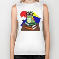 bookworm Biker Tanks featuring Bookworm 2 by Charles Oliver
