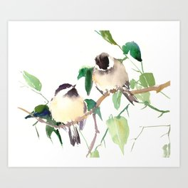 Chickadees, birds on tree, bird design neutral colors Art Print