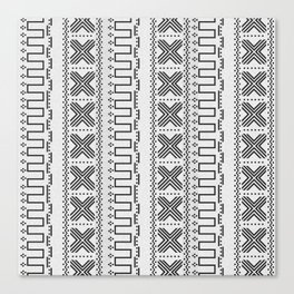 White and Gray Modern Mudcloth Faux Stitches Print Canvas Print