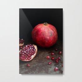 Pomegranate still life l Food Photography Art Metal Print