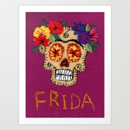 Frida - A Portrait of Frida Kahlo, skull and flowers, pink and purple, inspired by Mexican Calavera Art Print