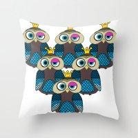 minions Throw Pillows featuring Owl Minions  by Gabriel J Galvan
