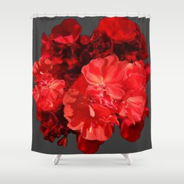 Decorative Red Geraniums On Grey Shower Curtain