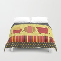 french fries Duvet Covers featuring hamburger  french fries and soda by ValoValo