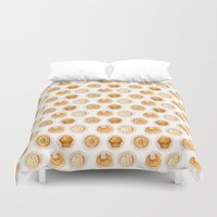 bread Duvet Covers featuring Sweet Bread by Woof! Productions