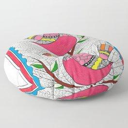 Madhubani Birds on Tree Floor Pillow